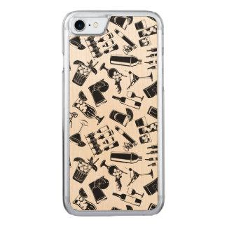 Black Pattern Cocktail Bar Carved iPhone 7 Case