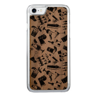 Black Pattern Cocktail Bar Carved iPhone 8/7 Case