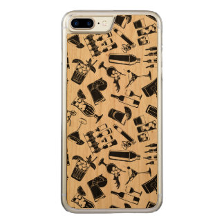 Black Pattern Cocktail Bar Carved iPhone 8 Plus/7 Plus Case