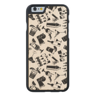 Black Pattern Cocktail Bar Carved Maple iPhone 6 Case