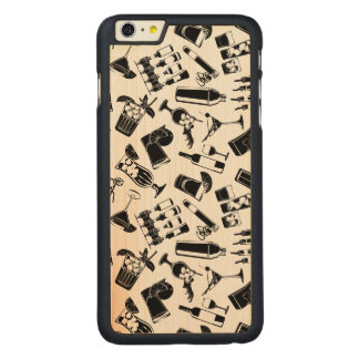 Black Pattern Cocktail Bar Carved Maple iPhone 6 Plus Case