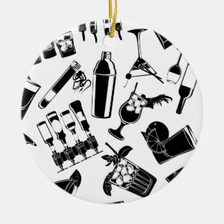 Black Pattern Cocktail Bar Ceramic Ornament