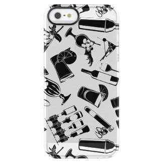 Black Pattern Cocktail Bar Clear iPhone SE/5/5s Case