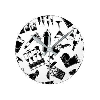 Black Pattern Cocktail Bar Clock