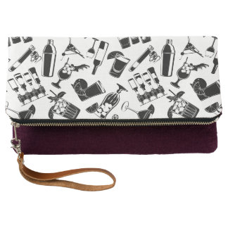 Black Pattern Cocktail Bar Clutch