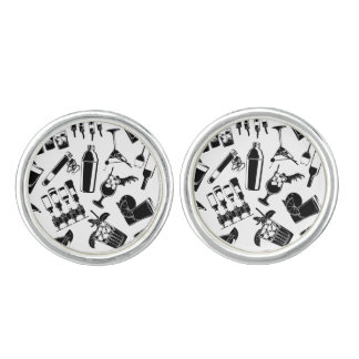 Black Pattern Cocktail Bar Cufflinks