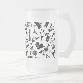 Black Pattern Cocktail Bar Frosted Glass Beer Mug