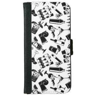Black Pattern Cocktail Bar iPhone 6 Wallet Case