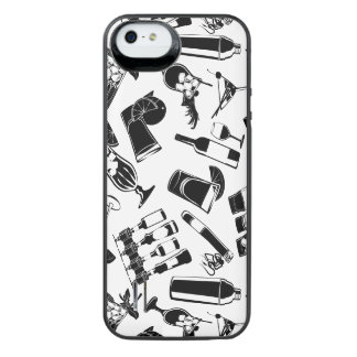Black Pattern Cocktail Bar iPhone SE/5/5s Battery Case