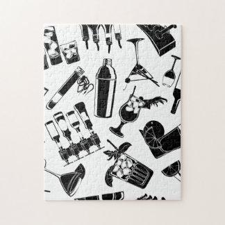 Black Pattern Cocktail Bar Jigsaw Puzzle