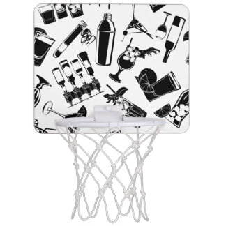 Black Pattern Cocktail Bar Mini Basketball Hoop