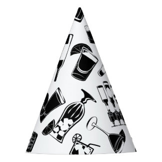 Black Pattern Cocktail Bar Party Hat