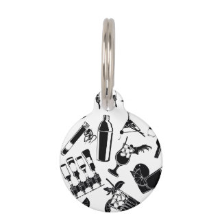 Black Pattern Cocktail Bar Pet ID Tag