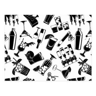 Black Pattern Cocktail Bar Postcard