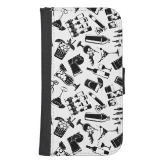 Black Pattern Cocktail Bar Samsung S4 Wallet Case