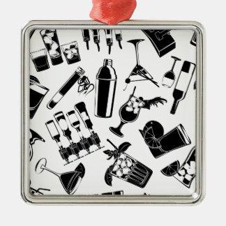 Black Pattern Cocktail Bar Silver-Colored Square Ornament