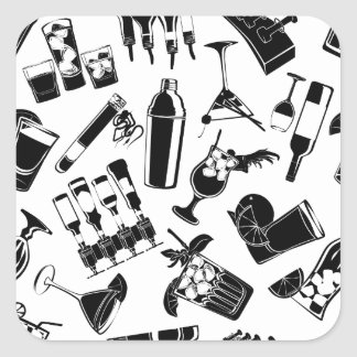 Black Pattern Cocktail Bar Square Sticker