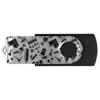 Black Pattern Cocktail Bar Swivel USB 3.0 Flash Drive