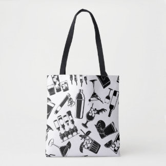 Black Pattern Cocktail Bar Tote Bag