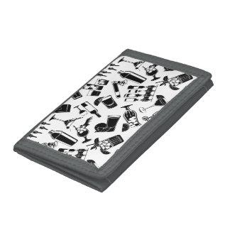 Black Pattern Cocktail Bar Tri-fold Wallets