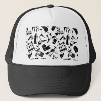Black Pattern Cocktail Bar Trucker Hat