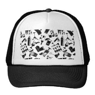 Black Pattern Cocktail Bar Trucker Hat