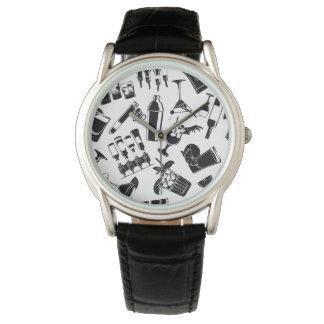 Black Pattern Cocktail Bar Watches