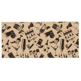 Black Pattern Cocktail Bar Wood USB 3.0 Flash Drive