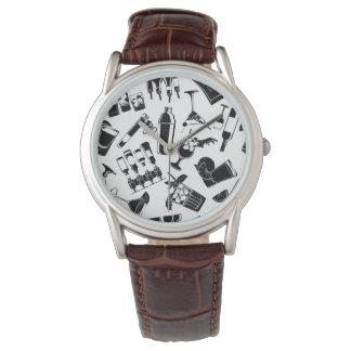 Black Pattern Cocktail Bar Wrist Watch
