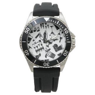 Black Pattern Cocktail Bar Wristwatches