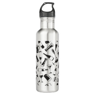 Black Pattern Drinks and Glasses 710 Ml Water Bottle