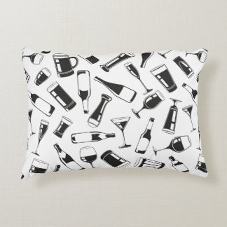 Black Pattern Drinks and Glasses Accent Pillow