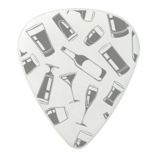 Black Pattern Drinks and Glasses Acetal Guitar Pick