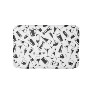 Black Pattern Drinks and Glasses Bath Mat