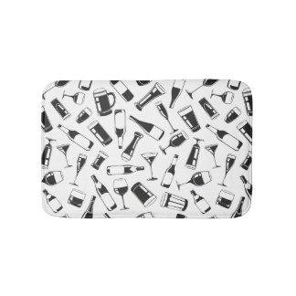 Black Pattern Drinks and Glasses Bathroom Mat