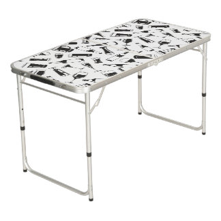 Black Pattern Drinks and Glasses Beer Pong Table
