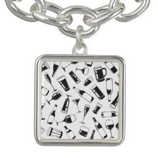 Black Pattern Drinks and Glasses Bracelet