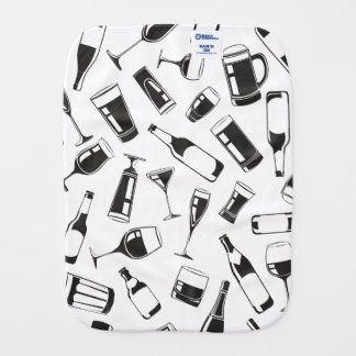 Black Pattern Drinks and Glasses Burp Cloth