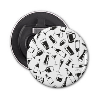 Black Pattern Drinks and Glasses Button Bottle Opener