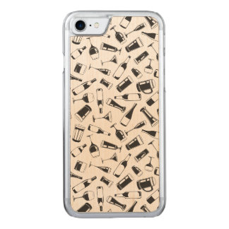 Black Pattern Drinks and Glasses Carved iPhone 7 Case