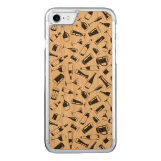 Black Pattern Drinks and Glasses Carved iPhone 8/7 Case