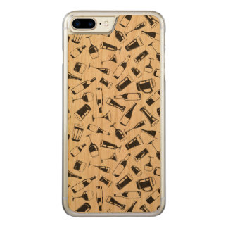 Black Pattern Drinks and Glasses Carved iPhone 8 Plus/7 Plus Case