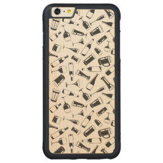Black Pattern Drinks and Glasses Carved Maple iPhone 6 Plus Bumper Case