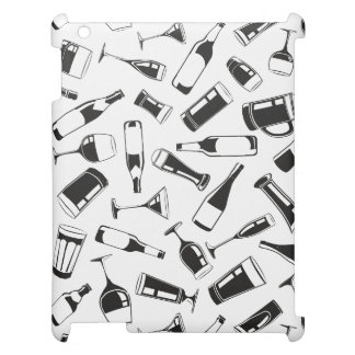 Black Pattern Drinks and Glasses Case For The iPad 2 3 4