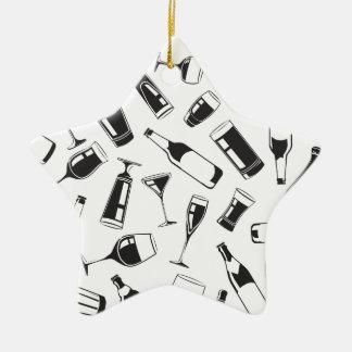 Black Pattern Drinks and Glasses Ceramic Star Ornament