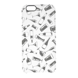 Black Pattern Drinks and Glasses Clear iPhone 6/6S Case