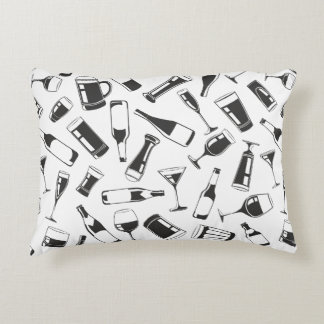 Black Pattern Drinks and Glasses Decorative Pillow