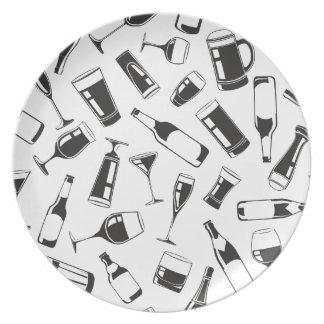 Black Pattern Drinks and Glasses Dinner Plate