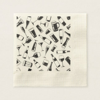 Black Pattern Drinks and Glasses Disposable Napkin