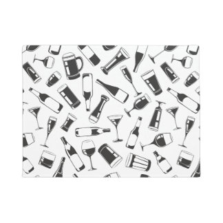 Black Pattern Drinks and Glasses Doormat